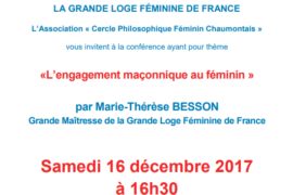 GLFF – CHAUMONT : CONFERENCE « L'ENGAGEMENT MACONNIQUE AU FEMININ »