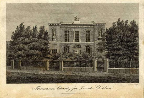 Print of Freemasons' Charity for Female Children, London - G. Jones, 1814. Copyright, and reproduced by permission, of the Library and Museum of Freemasonry, London