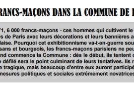 LES FRANCS-MAÇONS DANS LA COMMUNE DE PARIS