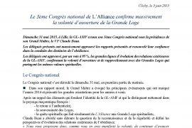 GL-AMF : Volonté d ouverture de la Grande Loge