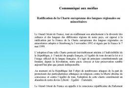 GODF : Ratification de la Charte européenne des langues régionales ou minoritaires