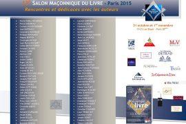 Les auteurs présents au13ème Salon Maçonnique du livre de Paris 2015