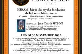 Conférence : Hiram héros du mythe fondateur de la Franc-Maçonnerie