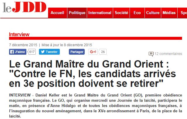 Le Grand Maître du Grand Orient   Contre le FN  les candidats arrivés en 3e position doivent se retirer    leJDD.fr