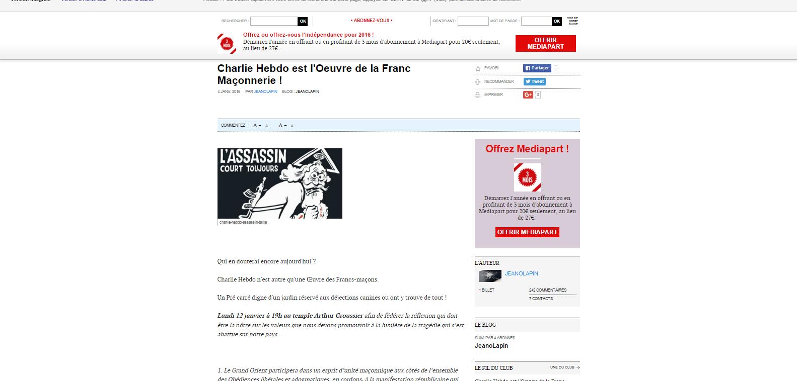 Charlie Hebdo est l Oeuvre de la Franc Maçonnerie     Blog   Le Club de Mediapart