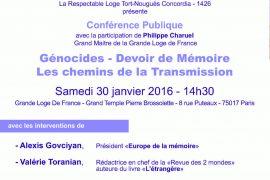 Conférence GLDF : Génocides – Devoir de Mémoire – Les chemins de la Transmission