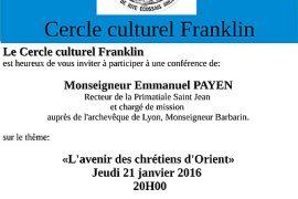 Conférence GLDF Villeurbanne : L avenir des Chrétiens d Orient