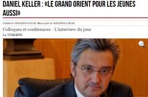 Daniel Keller   «Le Grand Orient pour les jeunes aussi»   16 02 2016   ladepeche.fr