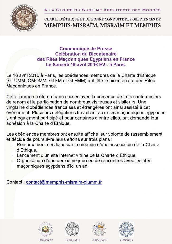 Communiqué de Presse Charte d'Ethique 2016 - Bicentenaire