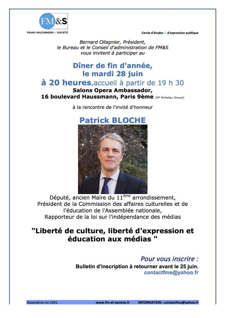 Invit 28 juin 16 dîner Pk Bloche