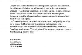 Saint-Étienne-du-Rouvray : Franc-Maçonnerie et Société prend position !
