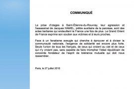 Saint-Étienne-du-Rouvray : Communiqué du GODF