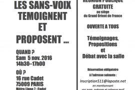 Conférence à PARIS : «LE SANS-VOIX TÉMOIGNENT ET PROPOSENT»