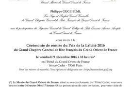 CÉRÉMONIE DE REMISE DU PRIX DE LA LAÏCITÉ 2016