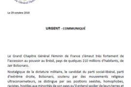 LE GRAND CHAPITRE FÉMININ DE FRANCE RÉAGIT A L'ELECTION DE DE JAIR BOLSONARO