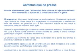 COMMUNIQUE GLFF – JOURNÉE INTERNATIONALE POUR L'ÉLIMINATION DE LA VIOLENCE FAITE AUX FEMMES