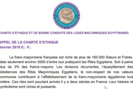 CHARTE D'ETHIQUE ET DE BONNE CONDUITE DES LOGES MACONNIQUES EGYPTIENNES
