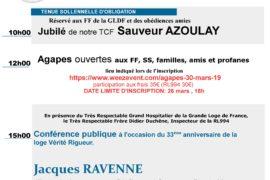 33° ANNIVERSAIRE DE LA LOGE 994 VÉRITÉ RIGUEUR – JUBILE – CONFERENCE