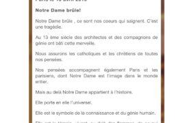 NOTRE DAME BRÛLE – COMMUNIQUE DE LA GLDF