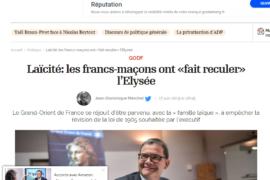 Laïcité: les francs-maçons ont «fait reculer» l'Elysée – Article de l'Opinion