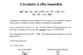 ANNULATION DES TENUES DE LA GRANDE LOGE MIXTE NATIONALE
