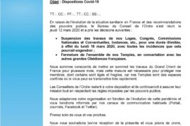 GODF – SUSPENSION DES TRAVAUX