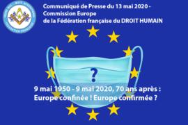 """DROIT HUMAIN : """"EUROPE CONFINÉE ! EUROPE CONFIRMÉE ?"""""""