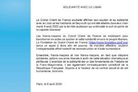 GRAND ORIENT DE FRANCE – SOLIDARITÉ AVEC LE LIBAN