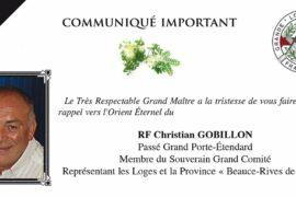 COMMUNIQUE GLNF – DÉCÈS DE CHRISTIAN GOBILLON
