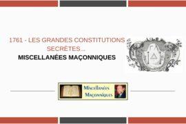 LES GRANDES CONSTITUTIONS SECRÈTES