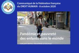 COMMUNIQUE – PANDEMIE ET PAUVRETE DES ENFANTS DANS LE MONDE – LE DROIT HUMAIN