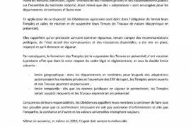 COMMUNIQUÉ INTEROBÉDIENTIEL : FERMETURE DES TEMPLES-SUSPENSION DES TRAVAUX
