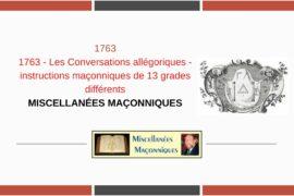 LES CONVERSATIONS ALLÉGORIQUES – INSTRUCTIONS MAÇONNIQUES DE 13 GRADES