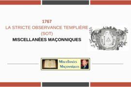 LA STRICTE OBSERVANCE TEMPLIÈRE (SOT)