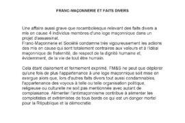 COMMUNIQUÉ DE FM&S – FRANC-MAÇONNERIE ET FAITS DIVERS