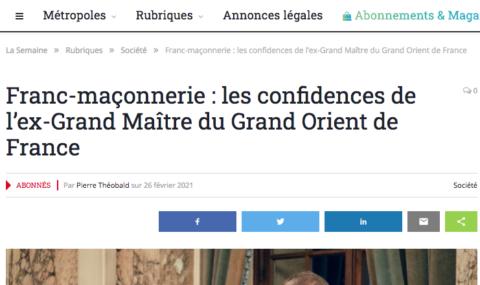 """CONFIDENCES D'UN PASSÉ GRAND MAÎTRE : """"on peut devenir Grand Maître sans être issu d'une lignée maçonnique ou de l'intelligentsia parisienne"""""""