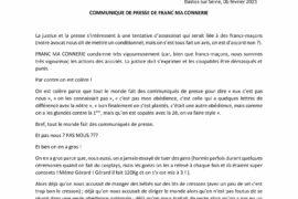"""COMMUNIQUE DE PRESSE DE """"FRANC MA CONNERIE"""" sur l'affaire des Hauts-de-Seine"""