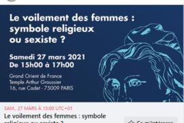 CONFERENCE DU GODF SUR LE VOILEMENT DES FEMMES EN DIRECT SUR YOUTUBE