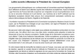 """""""SOFAGATE"""" : LA GLFF S'INDIGNE AUPRÈS DU PRÉSIDENT DU CONSEIL EUROPÉEN"""