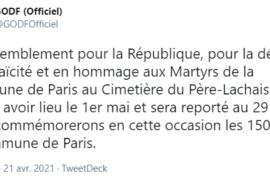 GODF : REPORT DE L'HOMMAGE AUX MARTYRS DE LA COMMUNE DE PARIS