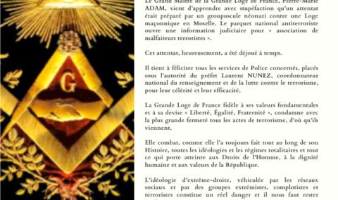 REACTION DE LA GLDF A L'ATTENTAT NEO-NAZI ANTI-MACONNIQUE