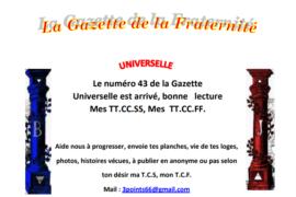 """GRATUIT – LA GAZETTE """"MAÇONNIQUE"""" UNIVERSELLE DE LA FRATERNITÉ N°43"""