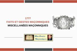 1777 – FAITS ET GESTES MAÇONNIQUES