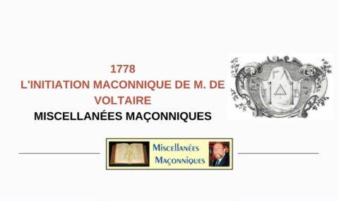 L'INITIATION MACONNIQUE DE M. DE VOLTAIRE