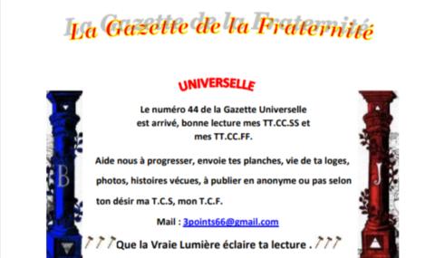 """GRATUIT – LA GAZETTE """"MAÇONNIQUE"""" UNIVERSELLE DE LA FRATERNITÉ N°44"""