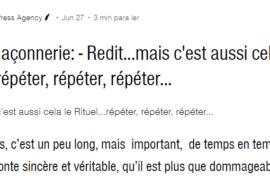 FRANC-MACONNERIE – Redit…mais c'est aussi cela le Rituel…répéter, répéter, répéter…