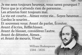 SHAKESPEARE : «JE ME SENS TOUJOURS HEUREUX»