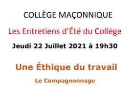 UNE ETHIQUE DU TRAVAIL – LE COMPAGNONNAGE – COLLEGE MACONNIQUE