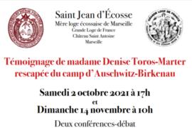 2 CONFERENCES-DEBAT TEMOIGNAGE D'UNE RESCAPEE D'AUSCHWITZ – SAINT JEAN D'ECOSSE